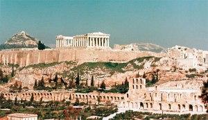 Acrópolis (forma definitiva hacia el siglo V a.C.). Atenas, Grecia.