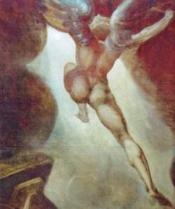 """""""Satanás xorde do Caos"""", Heinrich Füssli, 1794-1797, Zürich. Máis alá dun heroe caído, os elemntos animais que tanto tempo caracterizaran a Satán desaparecen para convertilo no """"anxo máis fermoso"""" como dixera Baudelaire."""