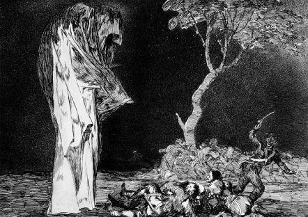 """""""Disparate del miedo"""", F. de Goya y Lucientes, 1815-1819. Serie Disparates. Baixo un manto e sen que poidamos recoñecer figura físcia algunha, o monstruoso pasa a ser con Goya un medo inexistente e social, unhas categorías baleiras que aínda seguen existindo a pesares da súa fin."""