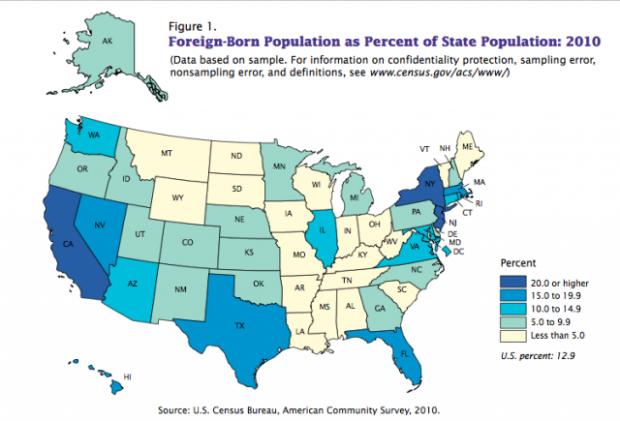 Porcentajes de población extranjera en los EEUU por estado (2010). Fuente: minnpost.com