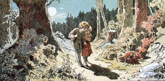 """""""Hänsel und Gretel"""" de Alexander Zick (1845-1907). O tabú da orfandade e o abandono deixa ós cativos cuspidos a un mundo en loita contra as adversidades coma a vella antropófaga."""