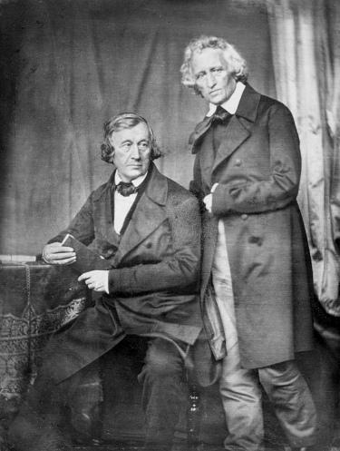 Wilhelm e Jacob Grimm, 1847; daguerrotipo de Hermann Blow