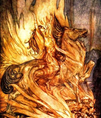 Inmolación de Brunilde na pira funeraria de Siegfried. Rituais de suicidio que preveñen ó clan da fin do mundo. Ilustración de Arthur Rackham.