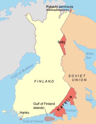 Territorios cedidos a la URSS en el Tratado de Paz de 1940. Fuente: Wikimedia Commons