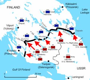 A la izquierda tenemos la situación de la línea mannerheim en el istmo de Karelia en diciembre de 1939. Este fue el lugar donde tuvieron lugar las principales acciones de la guerra. Fuente: Wikimedia Commons.