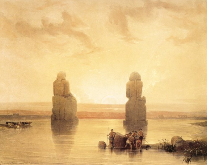 david-roberts-colossi-of-memnon-at-dawn