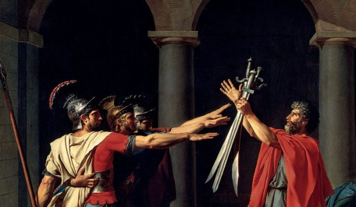The Oath of the Horatii, c. 1784. Oil on canvas, 330 x 425 cm. Inv.: 3692. Photo: G. Blot/ C. Jean. Image send to Robin Stolfi (Transaction : 632331760985156250) © RÈunion des MusÈes Nationaux / Art Resource, NY / Art Resource