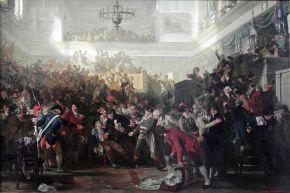 Pintura que teatraliza el momento en que la convención se levanta contra Robespierre (Julio de 1794)